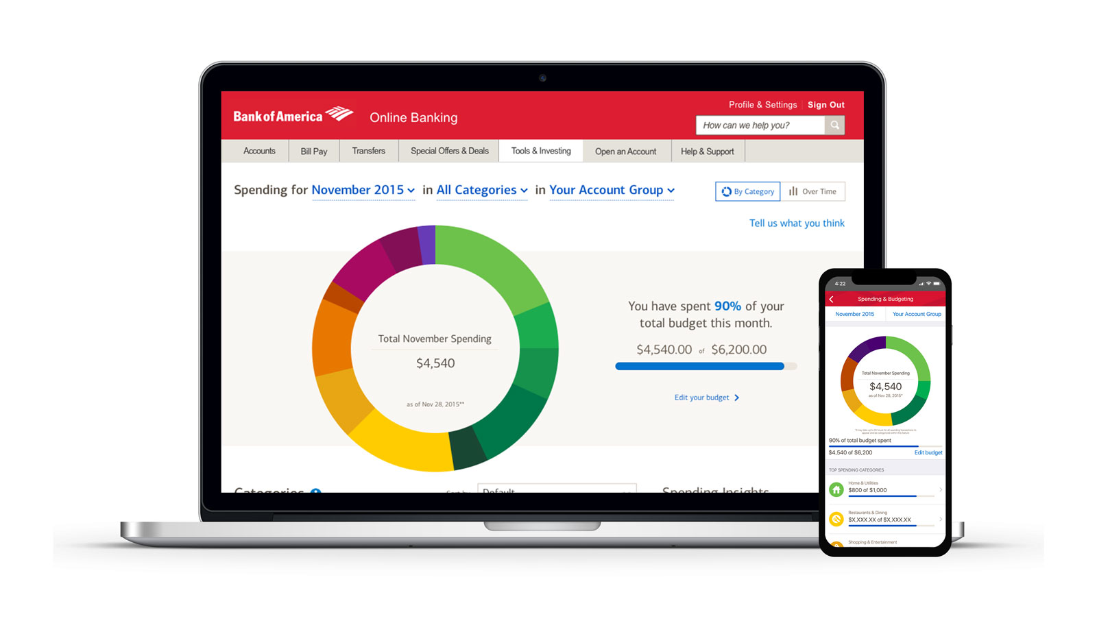 Bank of America Spending & Budgeting work sample; Budgeting dashboard with expenses and expense categories listed on desktop, and iPhone